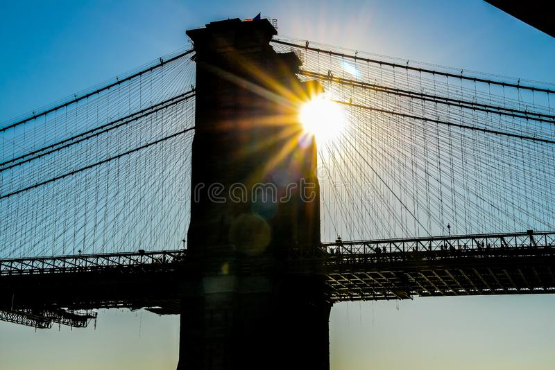 New York USA för Brooklyn bro solnedgång arkivbild