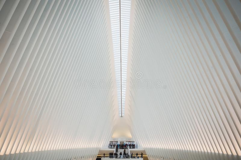 NEW YORK, USA - FEBRUARY 23, 2018: Architectural interior of the Oculus at the center of Wall Street in Manhattan royalty free stock images