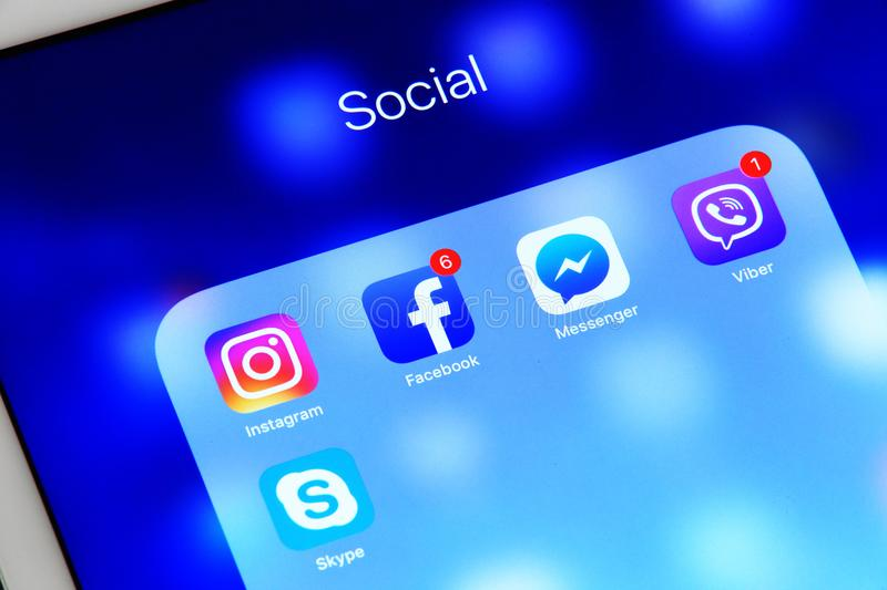 Social media applications on tablet screen. New york, USA - February 02, 2018: Social media applications on tablet screen. Icons of popular messengers royalty free stock photography