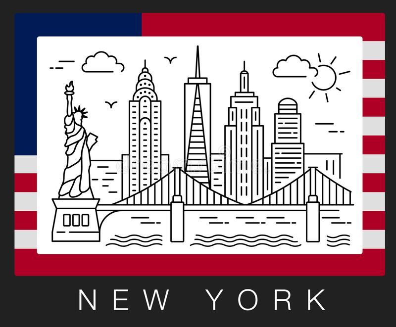 New York, USA. Illustration of Statue of Liberty and Skyscrapers vector illustration