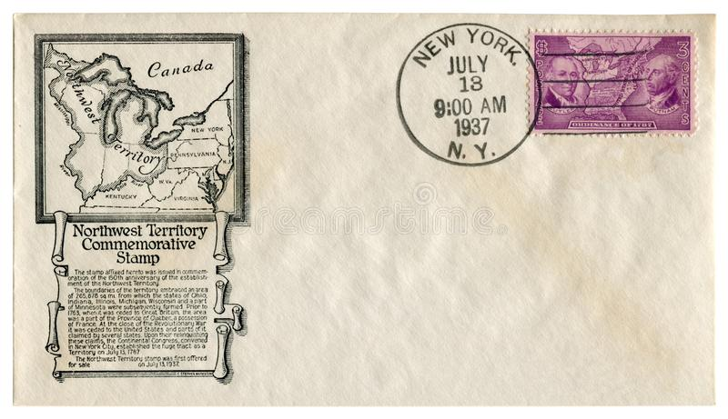 New York, The USA  - 13 Jul 1937: US historical envelope: cover with cachet Northwest Territory, postage stamp ordinance of 1787 P stock photos