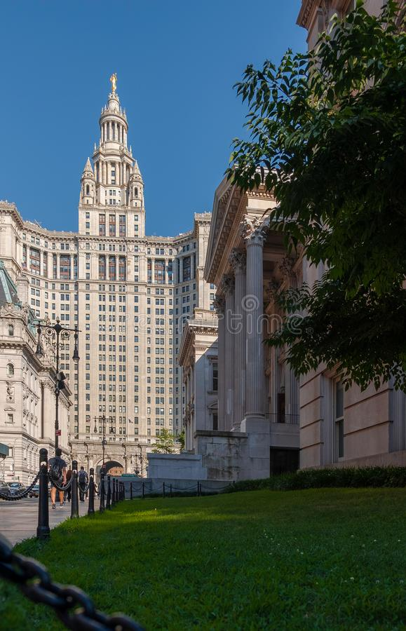 David N. Dinkins Municipal Building and Tweed Courthouse in Manhattan, NY. New York, USA - July 20, 2018 - David N. Dinkins Municipal Building and Tweed stock photos