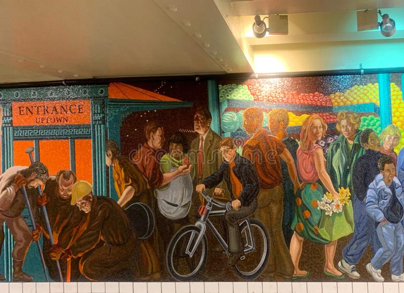 New York,USA - June 02 2019: mosaic made of tiles at the wall in station time square in new york - image. Yorkusa, art, drawing, entrance, america, beautiful stock images