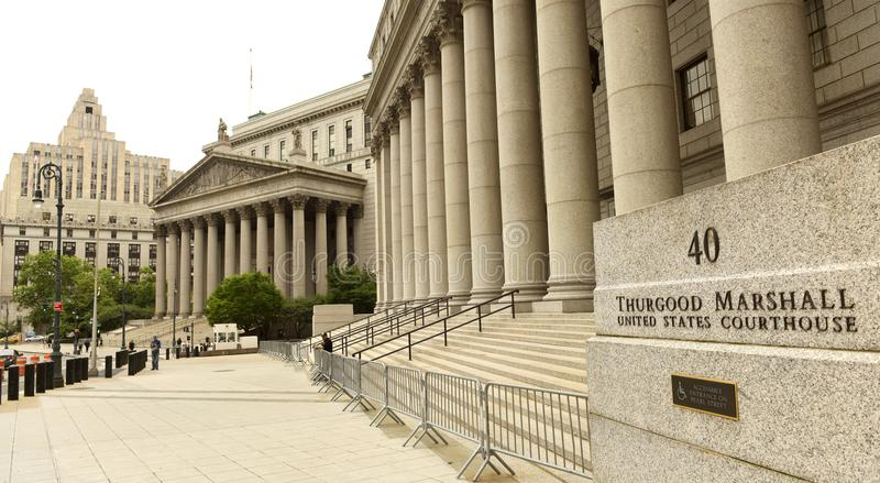 New York, USA - June 10, 2018: Thurgood Marshall Courthouse and. New York County Supreme Court buildings royalty free stock images