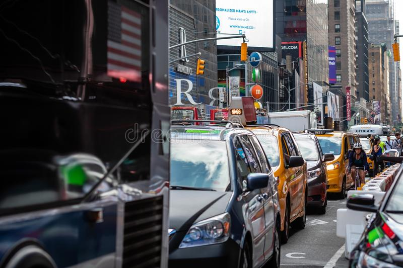 New York, USA - June 6, 2019:  Traffic jan in the Times Square in New York City, United States of America - image. New York, USA - June 6, 2019:  Traffic jan in royalty free stock photo