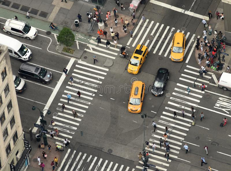 New York, USA - June 8, 2018: View from skyscrapers on the streets of New York City. Top view on the street with cars on the road. In NYC stock images