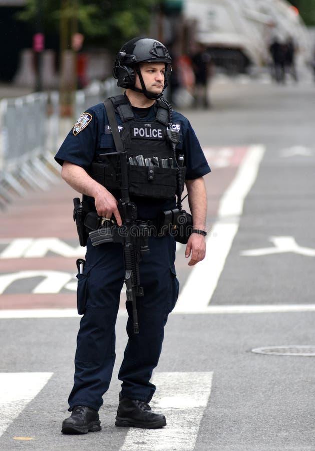 NEW YORK USA - Juni 10, 2018: Den New York City polisen Departme royaltyfria bilder