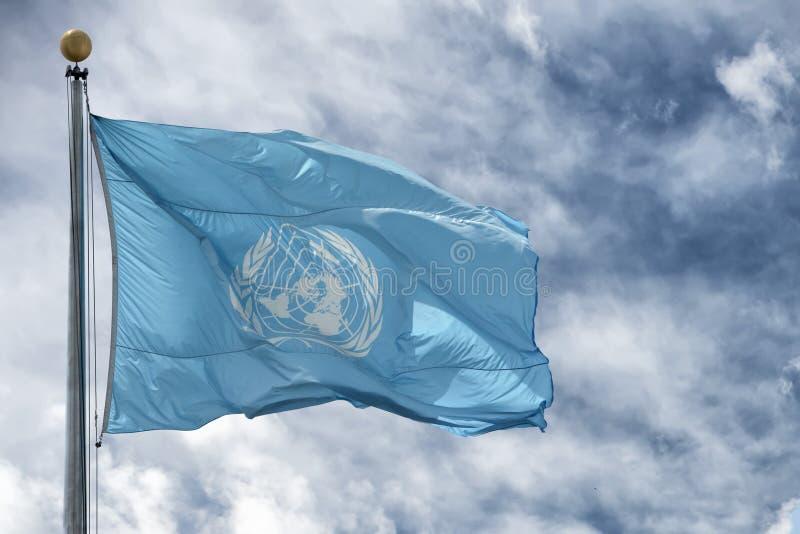 NEW YORK - USA - 11 JUNI 2015 vinkande United Nations FN-flagga arkivfoton