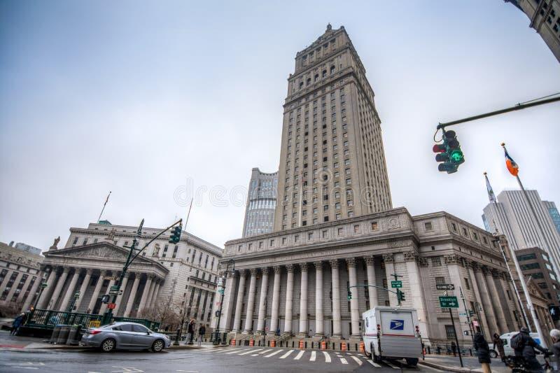New York USA - mars 29, 2018: Den Förenta staterna domstolsbyggnaden royaltyfri foto