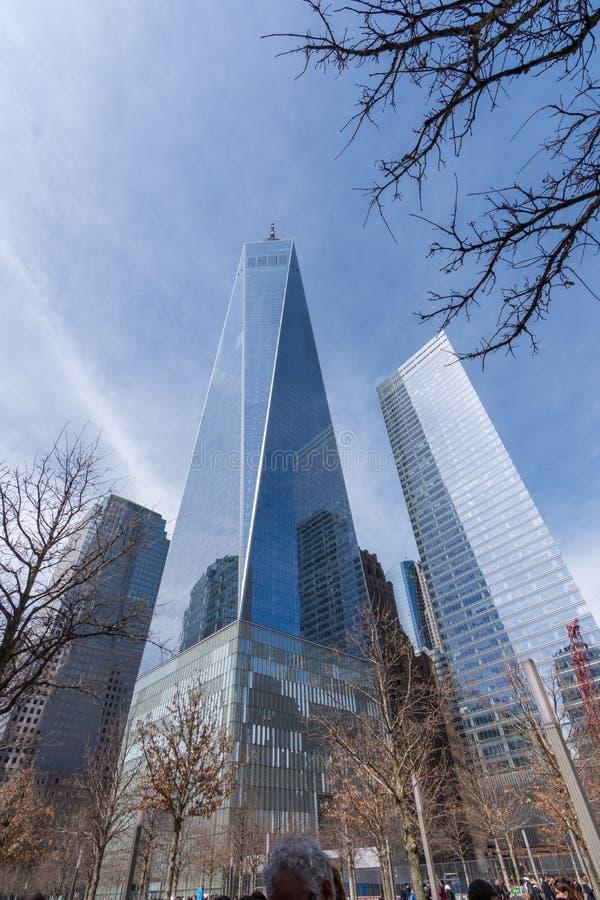 New York USA - mars 30, 2018: Moderna byggnader på världstraen royaltyfria bilder