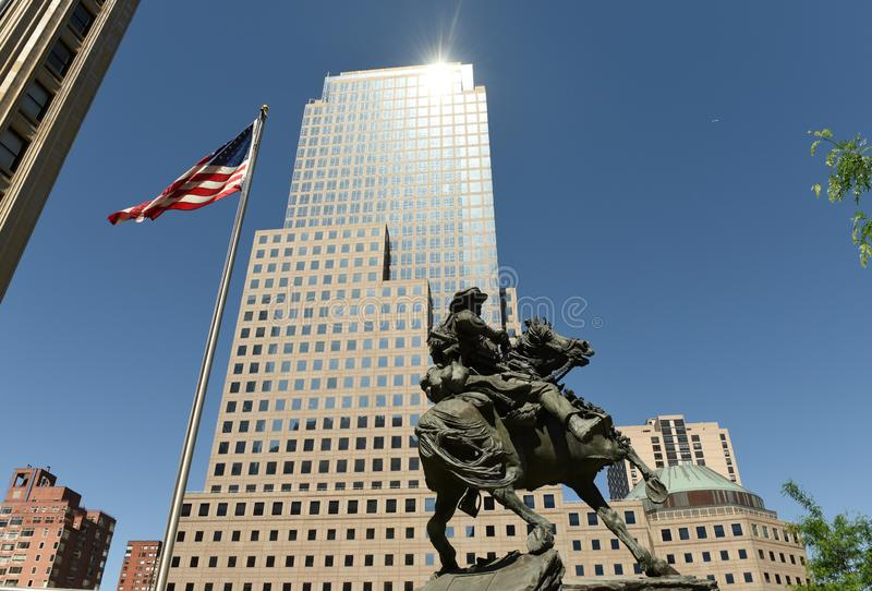 New York, USA - May 24, 2018: America Response Monument in Lib stock images