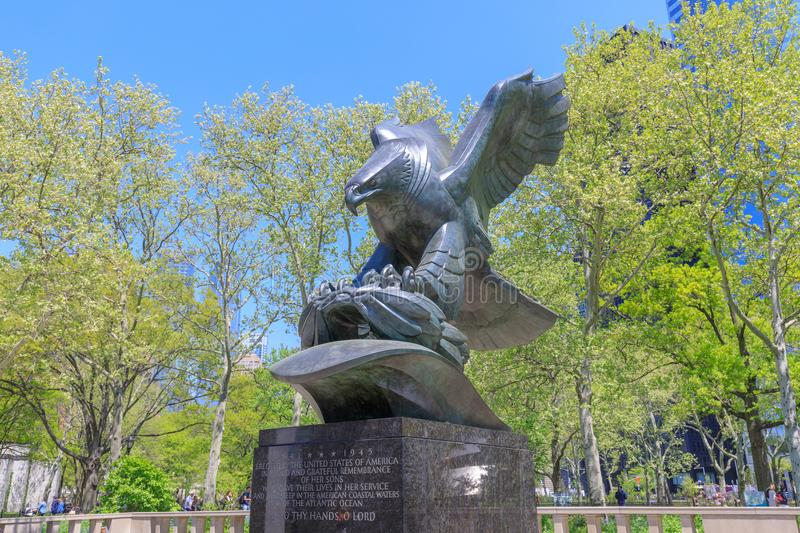 The bronze eagle sculpture by Albino Manca in Battery Park in New York royalty free stock photo