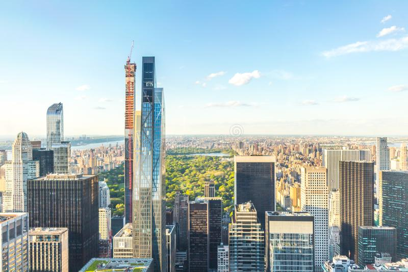 New york, USA - May 17, 2019: Central Park aerial view, Manhattan, New York, Park is surrounded by skyscrapers stock photos