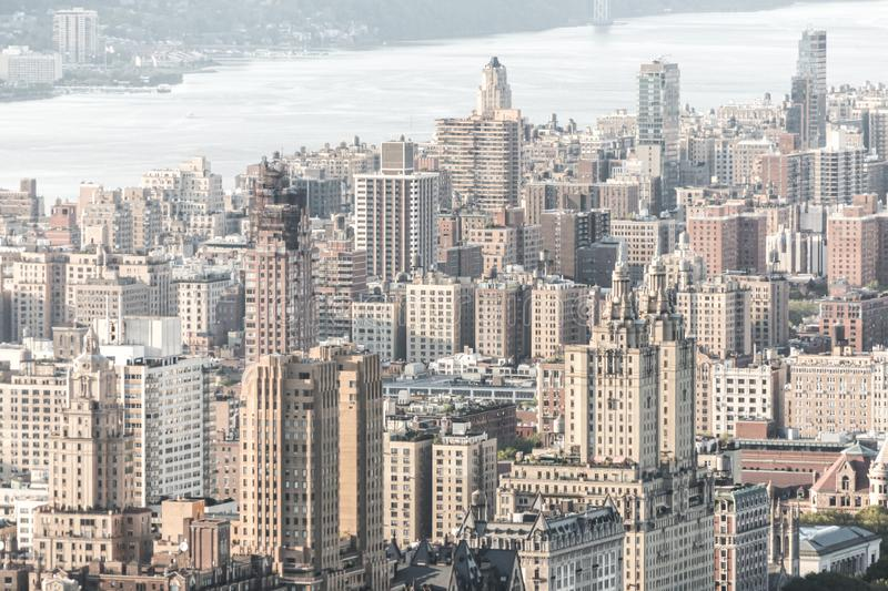 New york, USA - May 17, 2019: New York City Manhattan midtown aerial panorama view with skyscrapers and blue sky in the royalty free stock photos