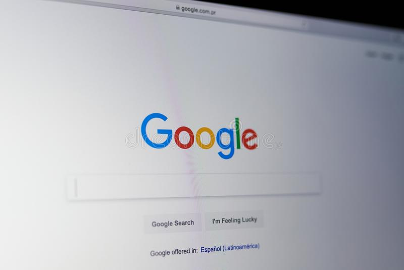 Google search bar. New york, USA - May 25, 2018: Google search bar on laptop screen close up royalty free stock image