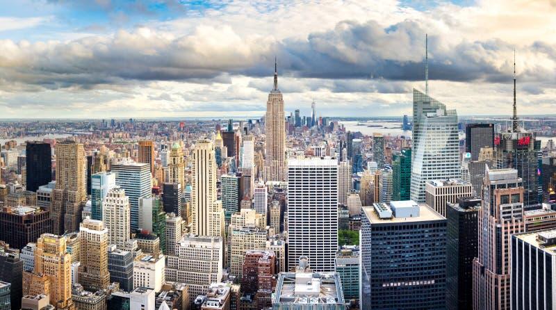 NEW YORK, USA - May 8, 2017: Manhattan skyline panoramic view wi royalty free stock photos