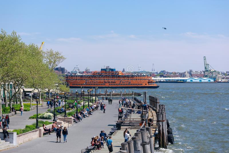 The massive Staten Island Ferry departs from Battery Park in New York City. stock photography