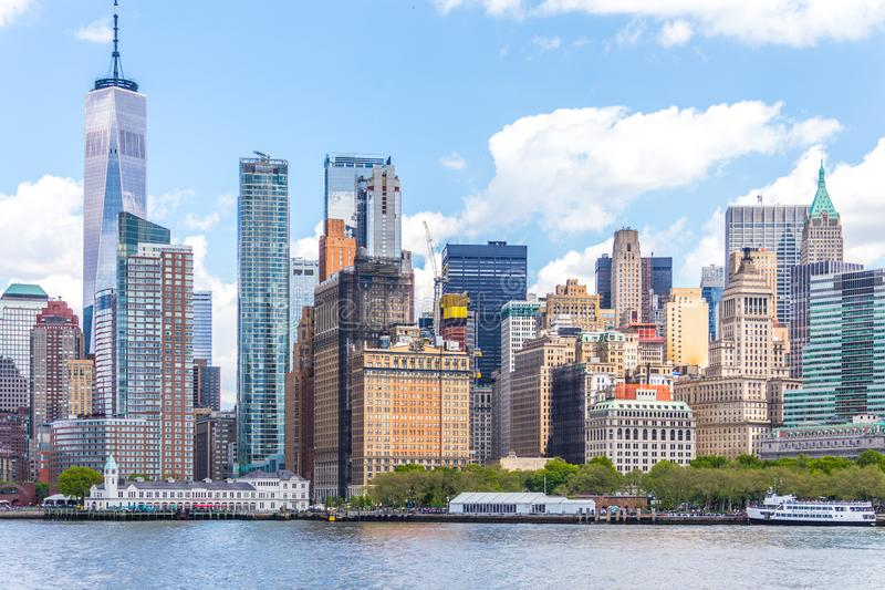 NEW YORK, USA - MAY 16, 2019: One World Trade Center and skyline panorama of downtown Financial District and the Lower. Manhattan royalty free stock image
