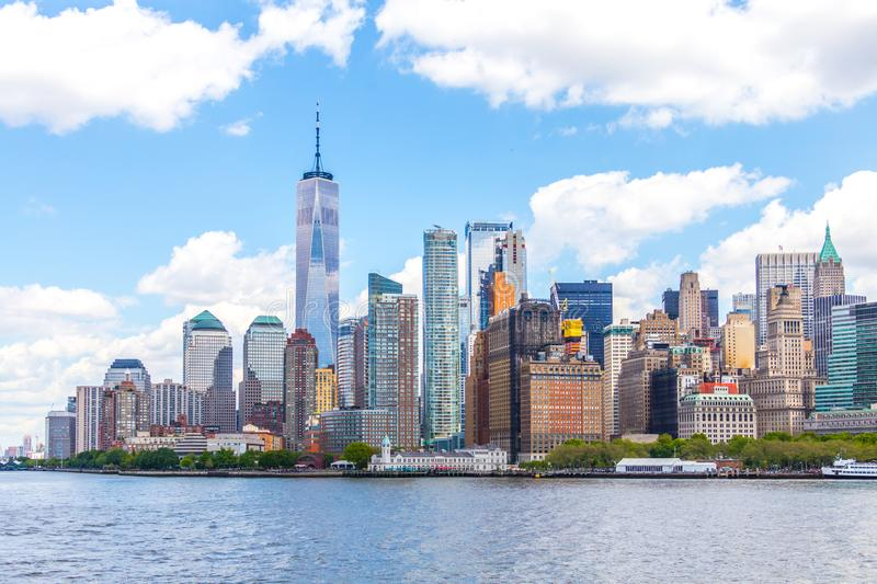 NEW YORK, USA - MAY 16, 2019: One World Trade Center and skyline panorama of downtown Financial District and the Lower. Manhattan royalty free stock images