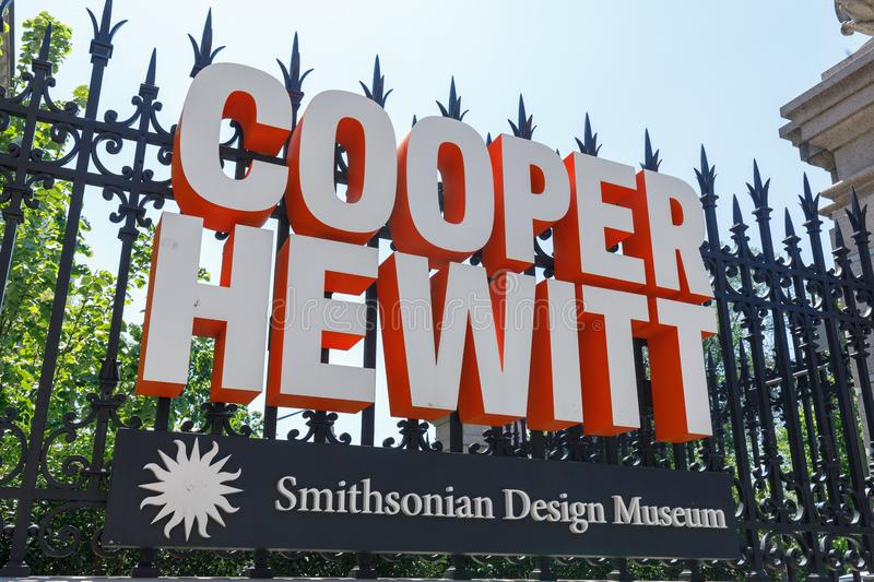 The sign of Cooper Hewitt, Smithsonian Design Museum. New York, USA - May 6, 2018 : The sign of Cooper Hewitt, Smithsonian Design Museumlocated in the Upper East royalty free stock photography