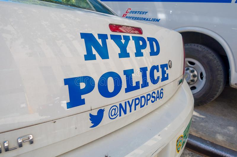 NEW YORK, USA - NOVEMBER 22, 2016: Car Police parked in China Town street, with the words NYPD in the back side of the. Car in New York City stock image