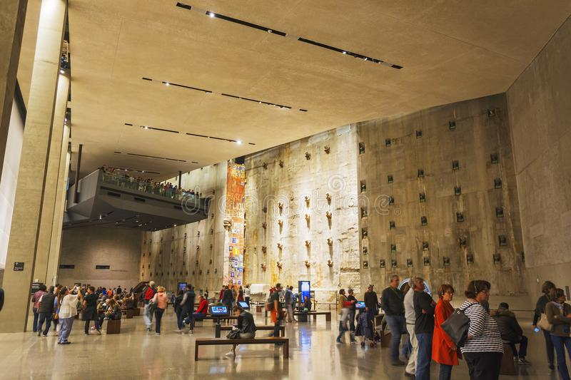 Interior of the National 9-11 Memorial Museum with the WTC foundation remains royalty free stock photo