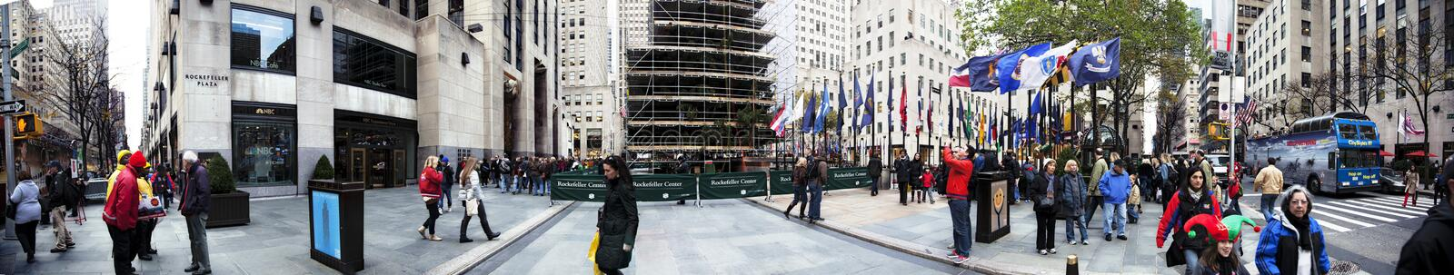 Download Rockefeller Plaza Christmans Tree Panorama Manhattan New York NY Editorial Photo - Image of flag, large: 30092221
