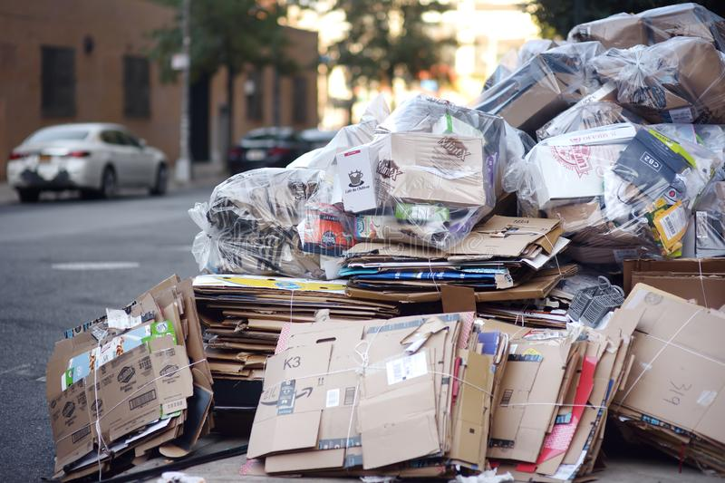 NEW YORK, USA - 23 OCTOBER 2018: Cardboard and paper on the street of new York collecting for recycling stock photo