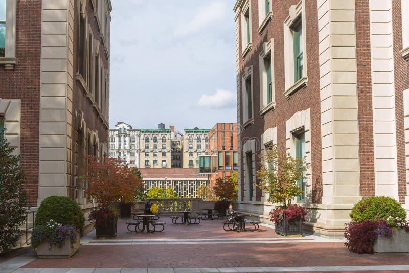Columbia university campus walking area between the buildings stock photo