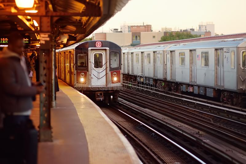 New York, USA - OCTOBER 24, 2018: New York subway train arrives at the station royalty free stock photos