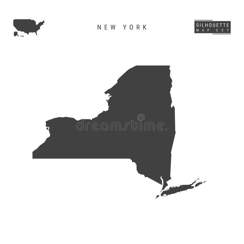 New York USA påstår vektoröversikten som isoleras på vit bakgrund Hög-specificerad svart konturöversikt av New York vektor illustrationer