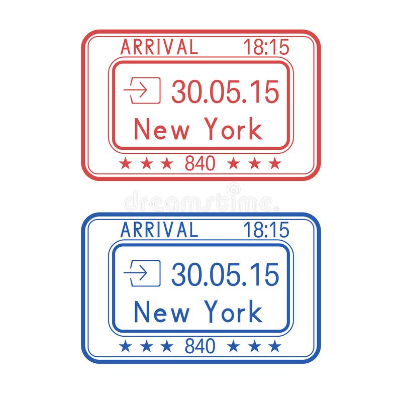 New York, USA passport stamps. Arrival by plane. With date royalty free illustration