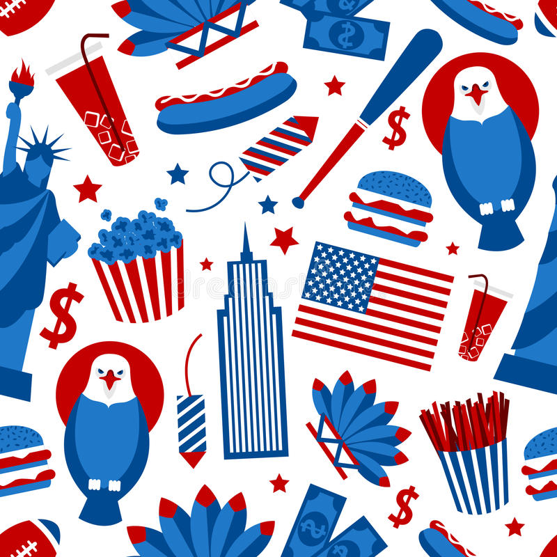 New York USA seamless pattern vector illustration