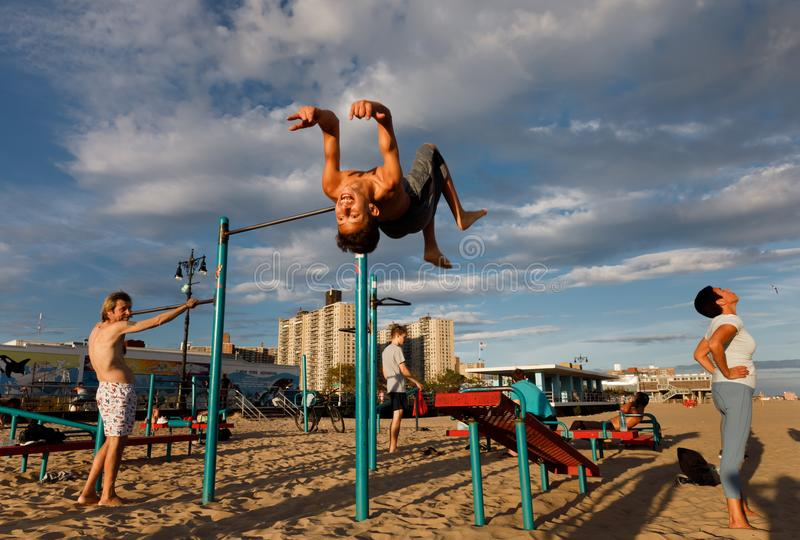 Coney Island Beach in New York City stock photography