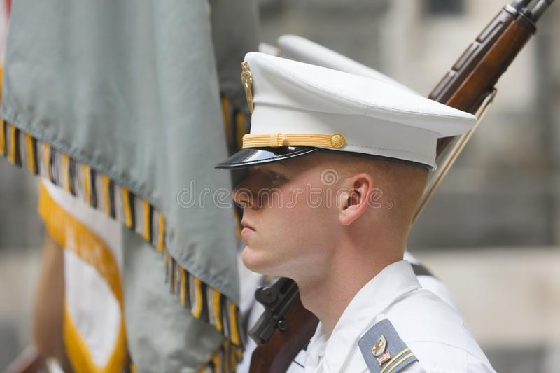 United States Military Academy USMA. NEW YORK, USA - Sep 18, 2017: Honor guard of the United States Military Academy USMA, also known as West Point, Army, The stock photos