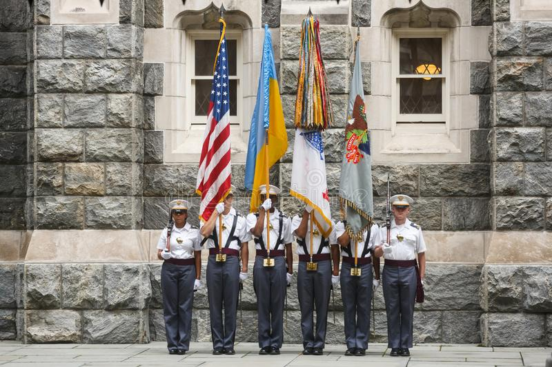 United States Military Academy USMA. NEW YORK, USA - Sep 18, 2017: Honor guard of the United States Military Academy USMA, also known as West Point, Army, The stock images