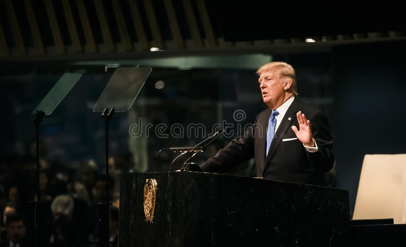 President of the United States Donald Trump. NEW YORK, USA - Sep 19, 2017: President of the United States Donald Trump speaks at the general political discussion stock photo
