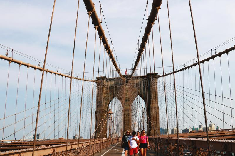 New York, USA - September 2, 2018: Brooklyn Bridge Walk stock image