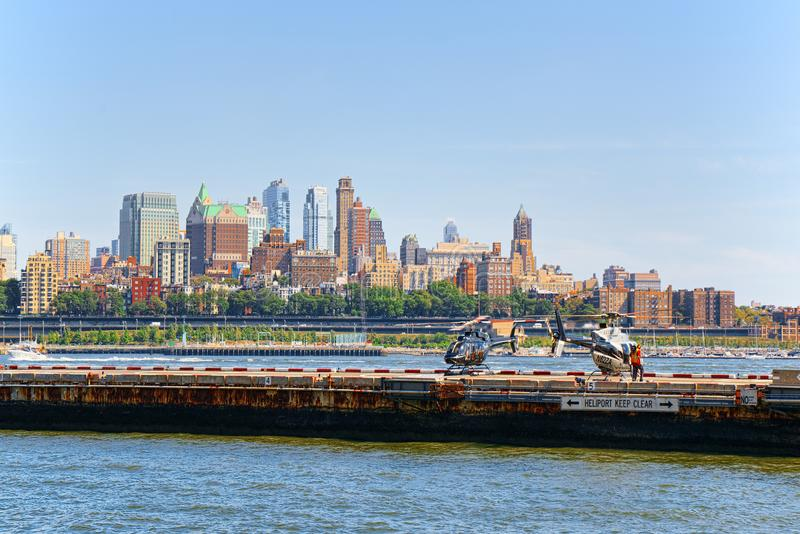 Lower Manhattan. The launch site for tourist helicopters on the stock photo