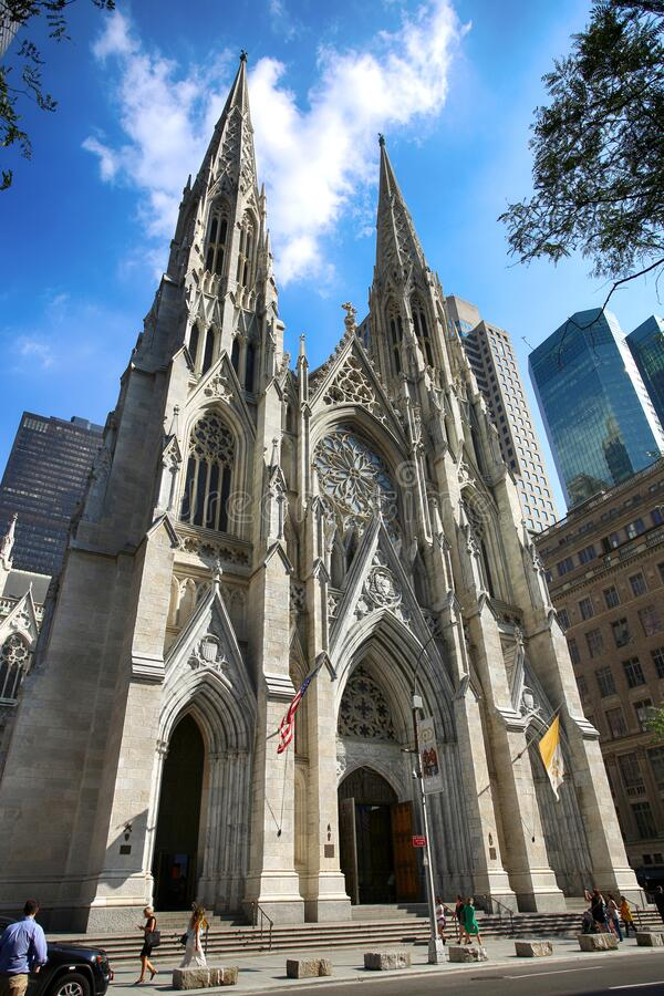 New York, USA September 06, 2018: St. Patricks Cathedral located on Fifth Avenue in Manhattan. This Cathedral built in 1858 is stock photos