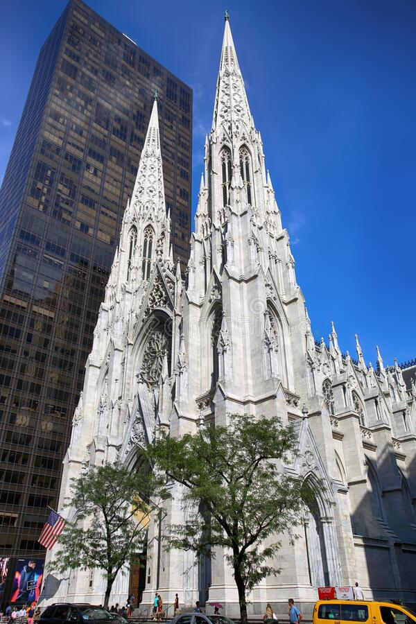 New York, USA – September 06, 2018: St. Patricks Cathedral located on Fifth Avenue in Manhattan. This Cathedral built in 1858 is royalty free stock photo