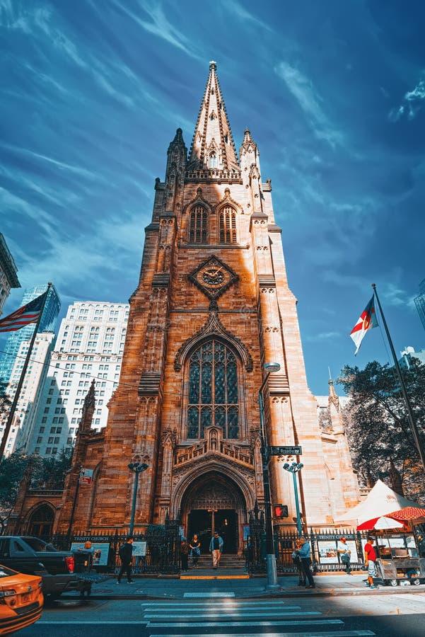 St. Paul`s Chapel of Trinity Church Wall Street on Broadway, urban view of New York stock image