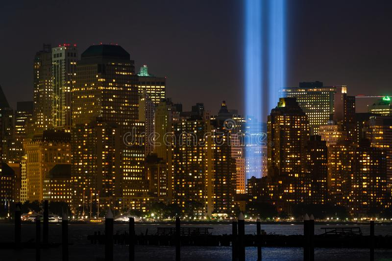 Buildings of New York city with the detail of `Tribute in light` rehearsal at Lower Manhattan stock photos