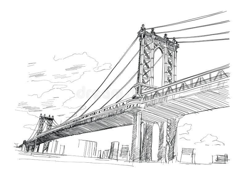 New York USA tecknad hand också vektor för coreldrawillustration royaltyfri illustrationer