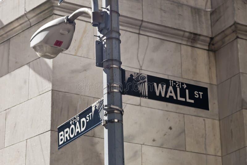 New York USA - Wall Street gatatecken på polen arkivfoto