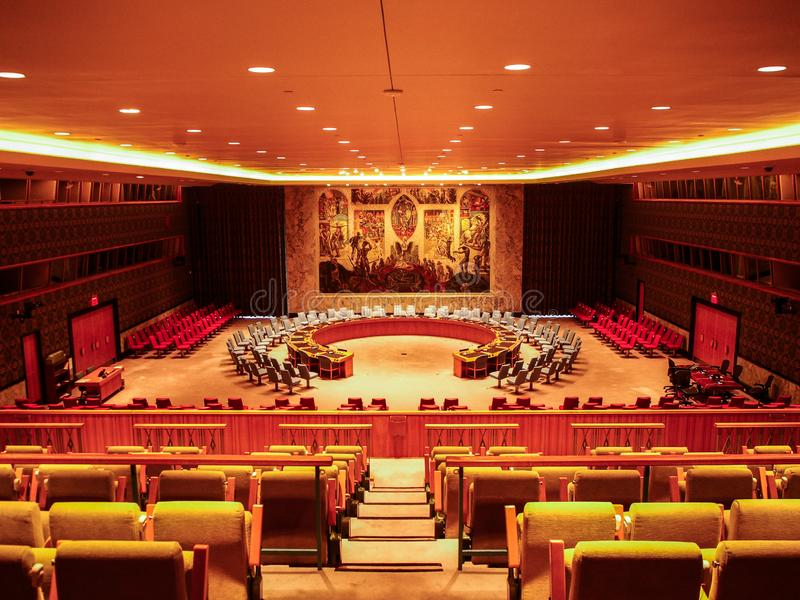 New York - Vereinigte Staaten - der UNO-Sicherheitsrat-Gipfelraum in den Hauptsitzen, die in New York City errichten lizenzfreies stockfoto