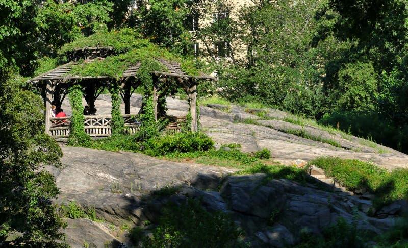 NEW YORK, VERENIGDE STATEN - AUGUSTUS vijfentwintigste, 2016: Mensen die in Central Park op een mooie de Zomerdag ontspannen in N royalty-vrije stock foto