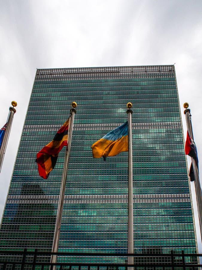 New York - Verenigde Staten, de hoofdkwartier bouw van de Verenigde Naties in de Stad van New York royalty-vrije stock afbeelding