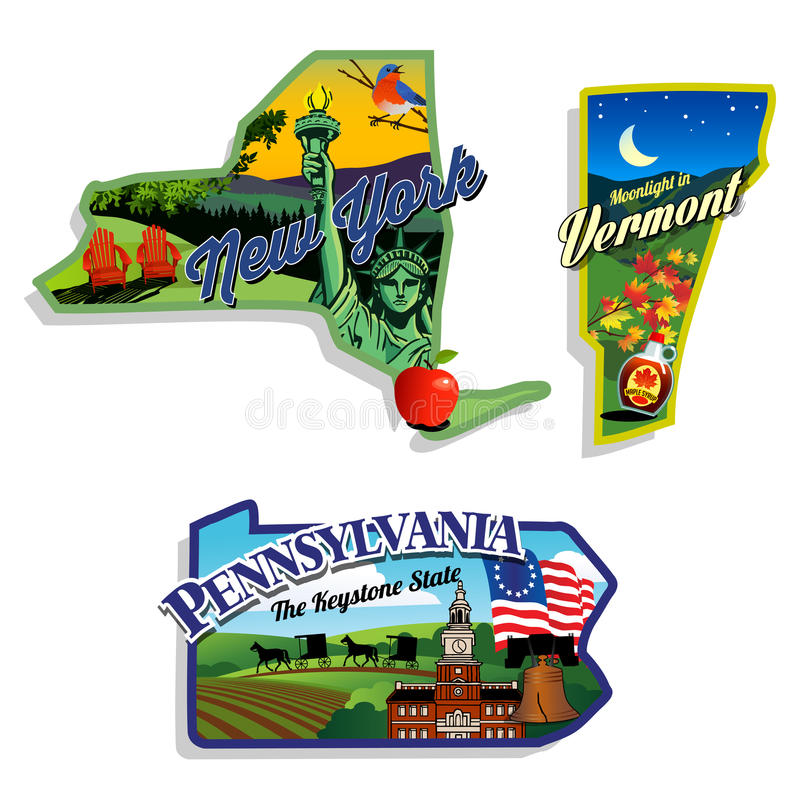 New York Vermont, Pennsylvania sceniska illustrationer stock illustrationer