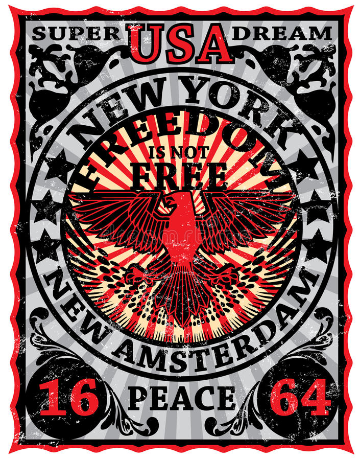New York Vintage Eagle Poster Man T shirt Graphic Design stock illustration